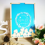 Personalized Multi-Colors Rustic Drop Top Wooden Wedding Guest Book Frame & Customized Hearts & 100 Pcs Hand-Writing Wood Hearts