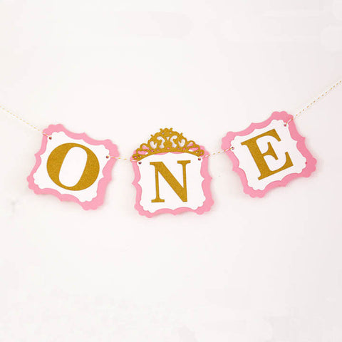 Pink and Gold One Banner High Chair Banner First Birthday Princess Party I am One Banner Photo Props Name Banner