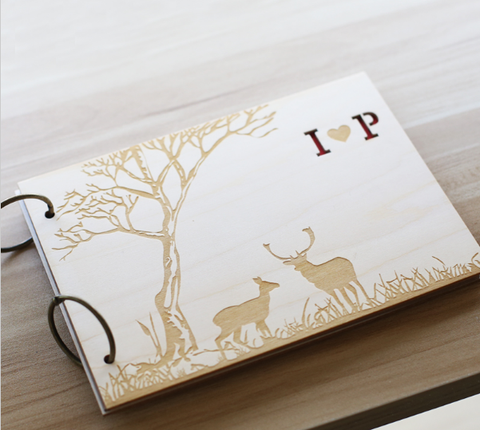 Personalized Forrest Deer Guestbook, Custom Rustic Wood Wedding Guestbook, Wooden Personalized Wedding Guest Books