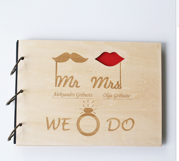 Custom Bride and Groom Wood Wedding Guest Book, Wedding lips and mustache Present, Anniversary Gift, Bridal Shower Book, Wedding Photo Album