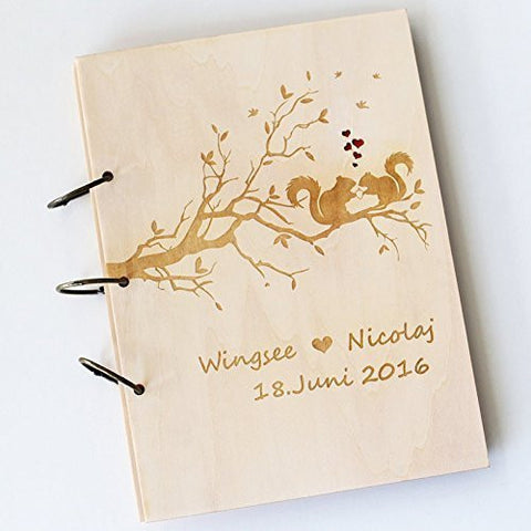 Wedding Tree with Squirrels Guest Book , Wood Rustic Wedding Guest Book Album Aniversary Wedding Book