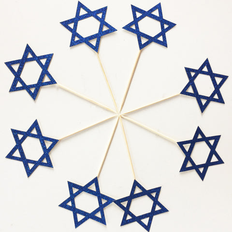 Star of David Cupcakes Toppers. Hanukkah Decorations. Party Picks. Mazel Tov. Jewish Holiday Decor