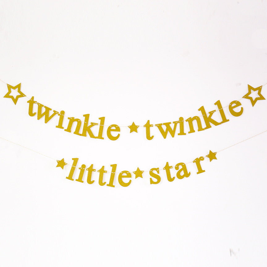 Twinkle Twinkle Little Star Banner,glitter gold star Garland, baby shower party decor, twinkle First Birthday, gender reveal