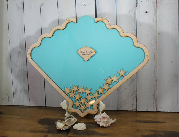 Wedding Guest Book/Top Drop/Alternative/Shell/Shadow Box/rustic wood Drop Frame/Heart/Custom/U Choose Colors/nautical wedding