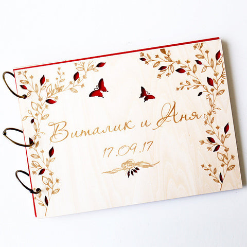 Wedding Guest Book Wood, Butterfly Guestbook Wedding, Rustic Wedding Guestbook, Engraved Bridal Shower Book, Custom Wedding Memo