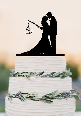 Custom wedding cake topper,Hooked on Love, personalized topper,fishing cake topper with initials