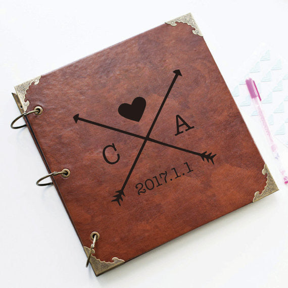 Personalized Arrows and initials Leather Photo Album/ Personalized Scrapbook Album /Wedding Guestbook/ guest book/Wedding gift book