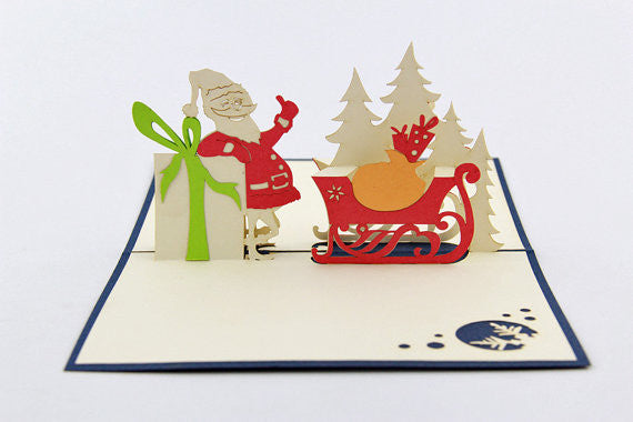 Santa and gifts Christmas card / pop up card / 3D card handmade card greeting Christmas card