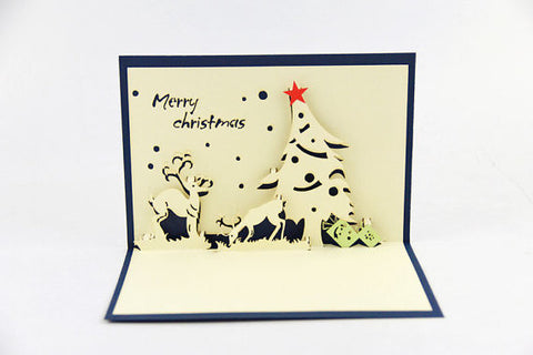 Deer and Christmas tree card / pop up card / 3D card handmade card greeting Christmas card