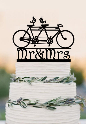 Mr Mrs Wedding Cake Topper Bicycle Wedding Cake Topper Bike Cake Topper Mountain Bike Cake Topper Cyclist Cake Topper