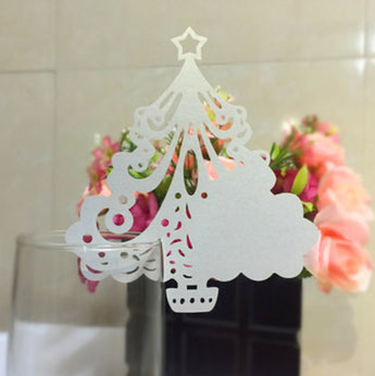 Laser cut Christmas Tree Paper Place Card, Wine Glass Name Place Cards /Xmas Decor Favor/escort cards