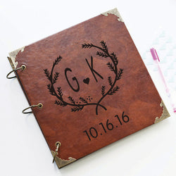 Personalized Laurel Wreath Engraved Leather Photo Album/ Personalized Scrapbook Album /Wedding Guestbook/ guest book/Wedding gift book
