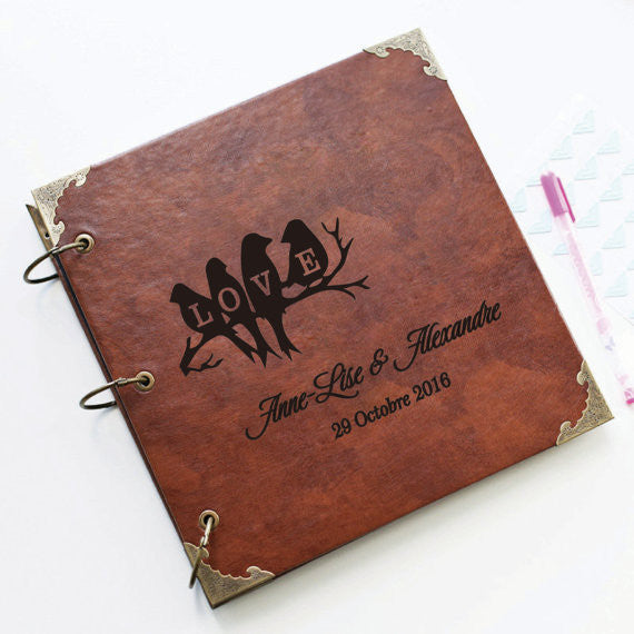 Personalized Love birds Engraved Leather Photo Album/ Personalized Scrapbook Album /Wedding Guestbook/ guest book/Wedding gift book