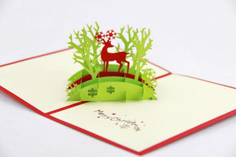 Christmas deer in jungle pop up card 3D card handmade card greeting Merry Christmas