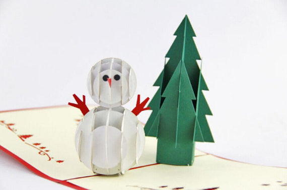 Christmas Tree and snowman happy holiday card 3d pop up card handmade Christmas card