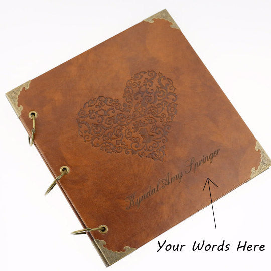 Personalized Deer Portrait Leather Photo Album/ Personalized Scrapbook Album /Wedding Guestbook/ guest book/Wedding gift book