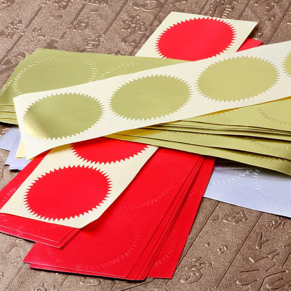 50 pcs Foil Seal Stickers/ Wedding Stickers/Gold, Silver, Red Envelope Seals/ Embosser seal Stickers