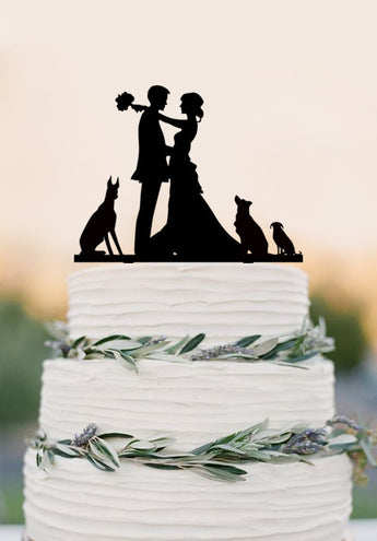 Custom wedding cake topper,bride and groom with dogs,funny wedding decoration