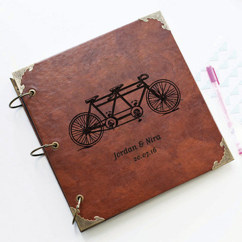 Personalized Tandem Bicycle Engraved Leather Photo Album/ Personalized Scrapbook Album /Wedding Guestbook/ guest book/Wedding gift book