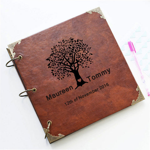 Custom Wedding tree Leather Guest Book /Personalized Destination Map Album /Wedding Guestbook/ guest book/travel wedding gusetbook