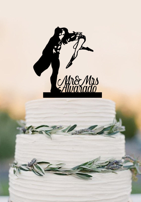 Wedding Cake Topper Silhouette Couple Mr & Mrs Personalized with Last Name , Super Hero and Super Woman cake topper