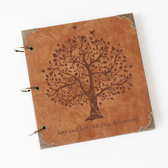 Customize Vintage Engraved Photo Album wedding tree photo album leather guestbook birthday gift of photo album