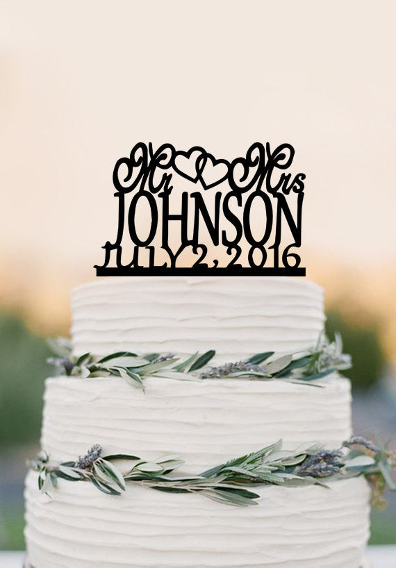 Modern Mr and Mrs Last Name Heart Wedding Cake Toppers with Date, Personalized Wedding Cake Topper, Custom Elegant Topper