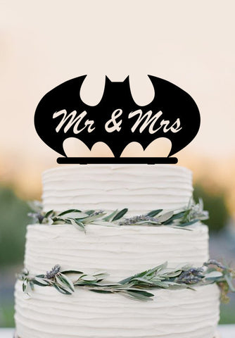 Mr Mrs wedding cake topper,batman custom cake topper,funny wedding decor