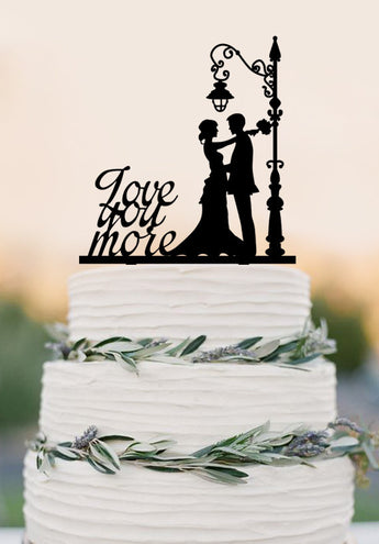 Custom Wedding Cake Topper,Love you more cake topper,bride and groom,Wedding party Decor