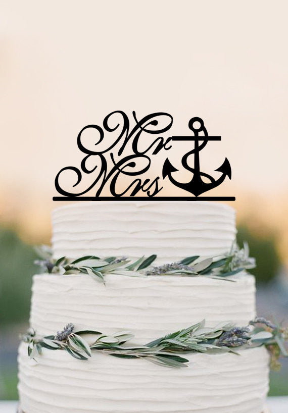 Mr and Mrs wedding cake topper,Nautical wedding,custom cake topper with anchor
