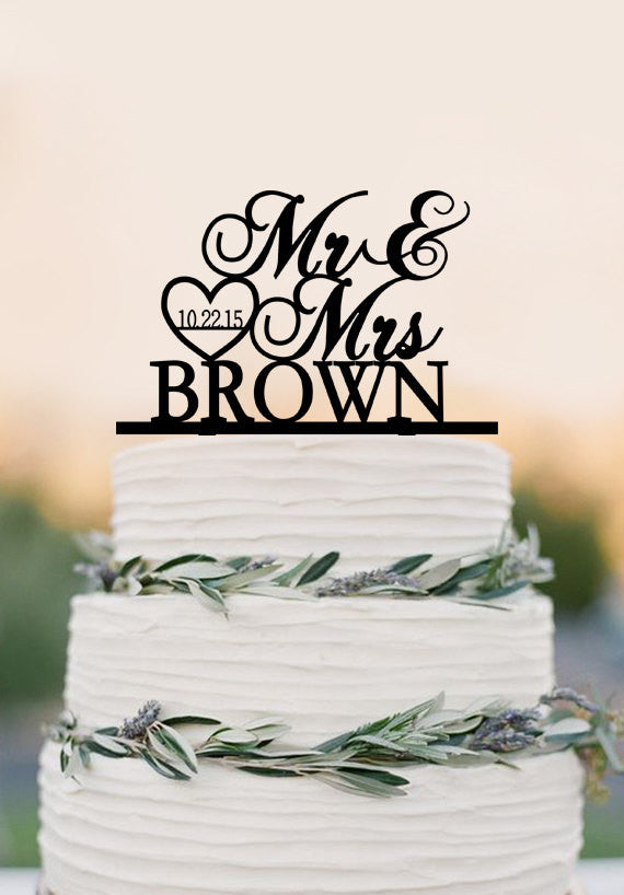 Custom Mr Mrs wedding cake topper, personalized topper, acrylic wedding decoration, heat and date cake topper
