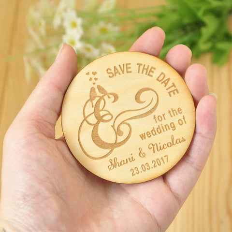 Wooden Save the Date Magnets, Rustic Wooden Magnets, Wedding Favors with Birds, Fridge Magnet, Wedding Invitation, Wooden Tags