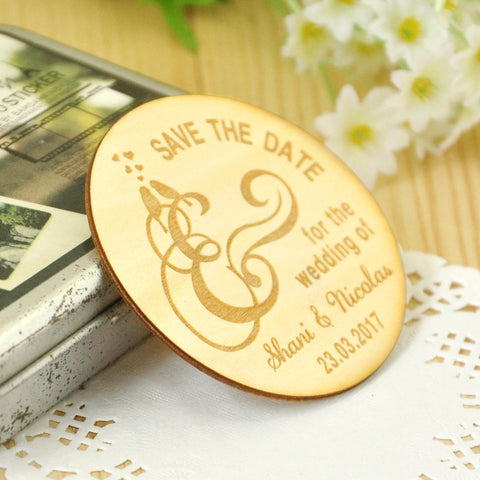 Wooden Save the Date Magnets, Rustic Wooden Magnets, Wedding