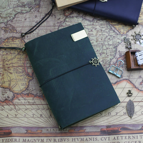 A5 Green Leather Journal Midori Traveler's Notebook Refillable Leather Notebook gift pack