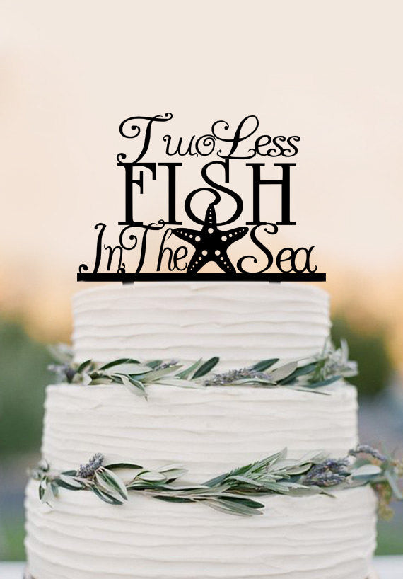 Sea Starfish Beach Wedding Cake Topper - two less fish in the sea- Cruise wedding -Destination Wedding