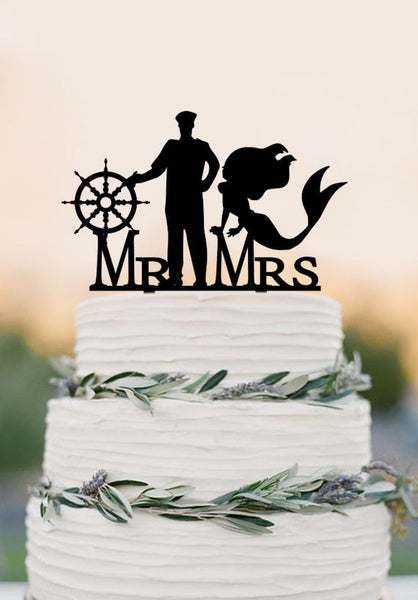 Mermaid and Captain Cake Topper with compass Mr and Mrs wedding cake topper Cake Topper Beach Wedding decor