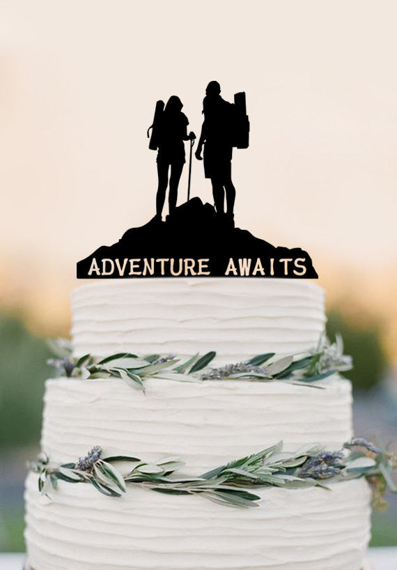 Adventure Awaits Cake Topper Bon Voyage Travel Decorations, Wedding cake topper broom and groom
