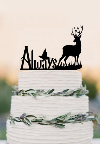 Always cake topper, Harry Potter Inspired wedding cake topper,party decoration,deer cake topper