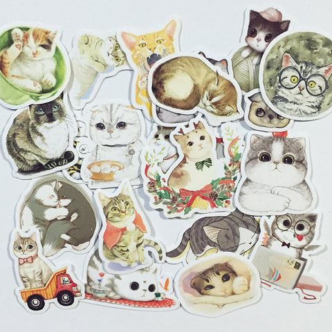 Cute Cats sticker 23 pcs stickers planner stickers Erin Condren die cut--S041