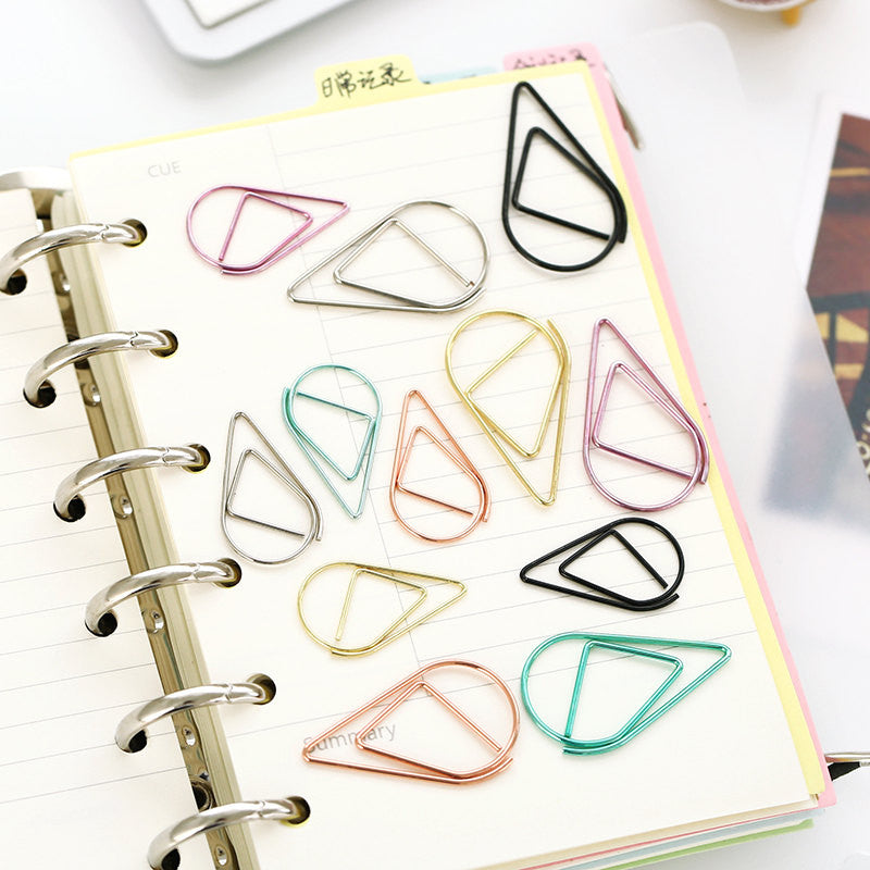 Colored Raindrop Waterdrop Metal Paper Clip, Paper Pin Clip, Planner Clip,Binder Clips