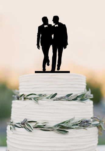 Gay silhouette Homosexual Wedding Cake Topper For Men Gift Gay Wedding Cake Topper Same Sex Cake Topper Gay Cake Topper