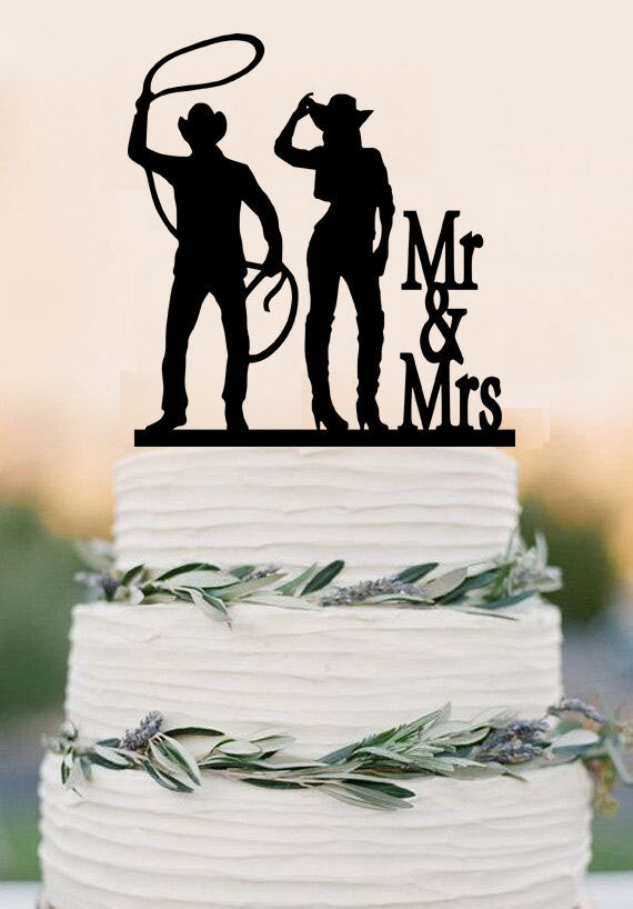 Country Wedding Cowboy And Cowgirl Cake Topper Event Wedding or Anniversary Cake Topper