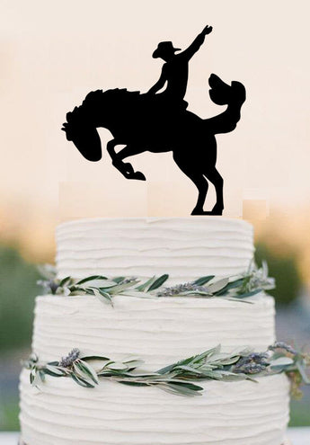 Cowboy on a Bucking Horse Cake Topper Country Wedding Cake Topper Western Wedding Rustic Cake Topper