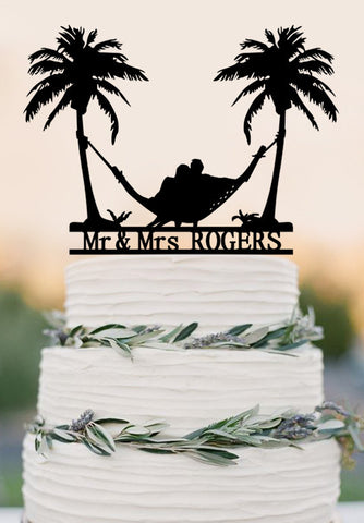 Beach Theme Honeymoon Hammock Wedding Cake Topper Palm Trees Cake Topper-Mr and Mrs Cake Topper with Last Name