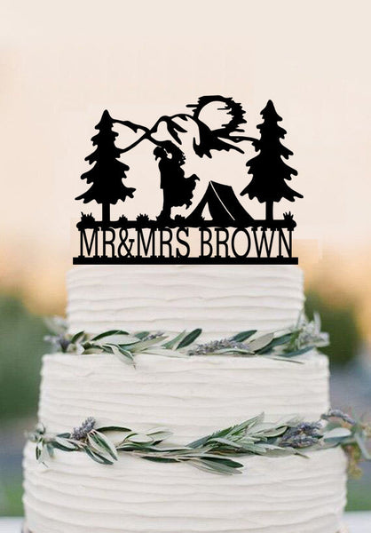 Tent and Mountains for the Bride and Groom Camper Mr and Mrs Wedding Cake Topper-Personalized Last Name