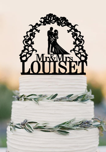 Custom Wedding Cake Topper Silhouette With Last Name Personalized Cake Topper for Groom & Bride, Mr Mrs