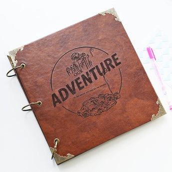 Custom Travel log Engraved Photo Album/Adventure Photo album/ Kraft Scrapbook Album // guest book