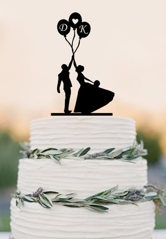Custom Weddings High Five Bride and Groom Balloon Wedding Cake Topper With Initial