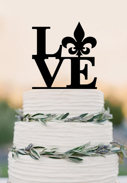 fleur de lis cake topper love cake topper wedding cake topper French Cake topper