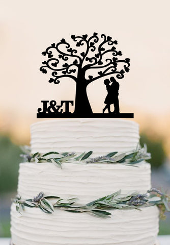 Love Tree Wedding Cake Topper, Mr and Mrs topper, Cake Decor ,Wedding Cake Topper, Silhouette Bride and Groom
